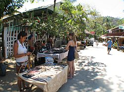 Jewelry stands on the streets of Montezuma